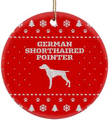 German Shorthaired Pointer Holiday Ceramic Circle Ornament