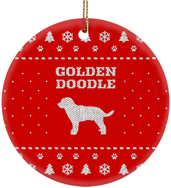 golden doodle holiday ceramic circle ornament