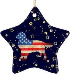 Golden Retriever USA Ceramic Star Ornament