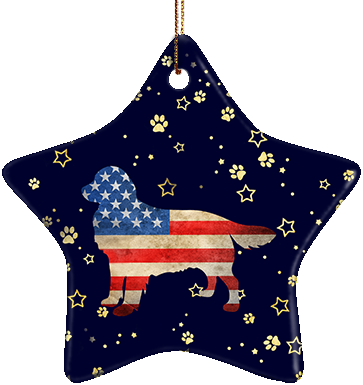 Golden Retriever USA Ceramic Star Ornament