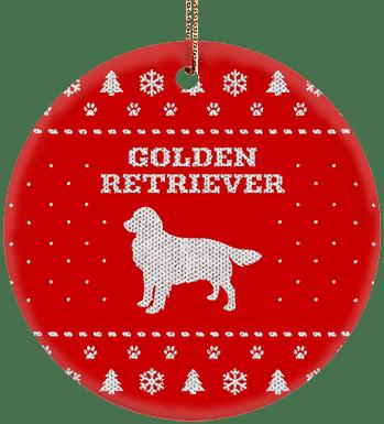 Golden Retriever Holiday Ceramic Circle Ornament