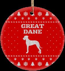 Great Dane Holiday Ceramic Circle Ornament