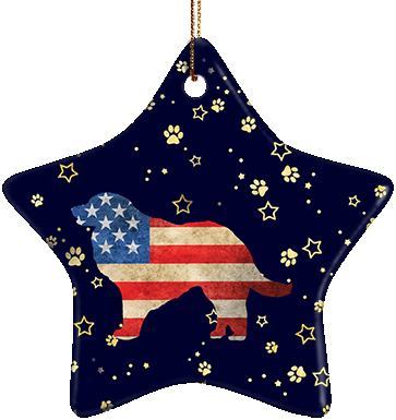 Great Pyrenees USA Ceramic Star Ornament