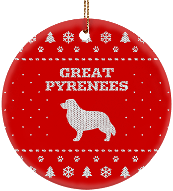 Great Pyrenees Holiday Ceramic Circle Ornament