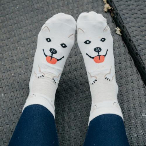 Off White Husky Print Socks