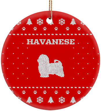 Havanese Holiday Ceramic Circle Ornament