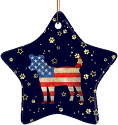 Jack Russell Terrier USA Ceramic Star Ornament