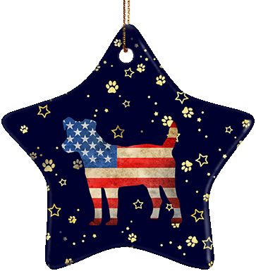 Jack Russell Terrier USA Ceramic Star Ornament