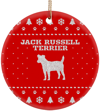 Jack Russell Terrier Holiday Ceramic Circle Ornament