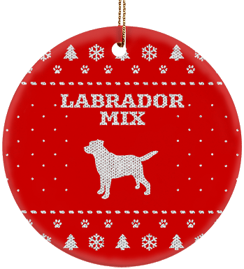 Labrador Mix Holiday Ceramic Circle Ornament