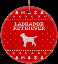 Labrador Retriever Holiday Ceramic Circle Ornament