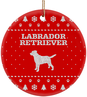 Labrador Retriever Holiday Ceramic Circle Ornament