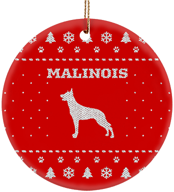 Malinois Holiday Ceramic Circle Ornament