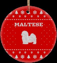 Maltese Holiday Ceramic Circle Ornament