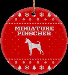 Miniature Pinscher Ceramic Circle Ornament