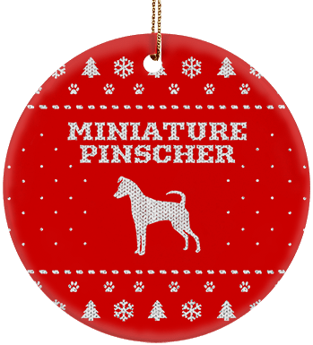 Miniature Pinscher Ceramic Circle Ornament