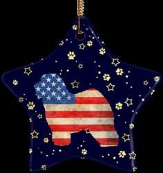 Old English Sheepdog USA Ceramic Star Ornament