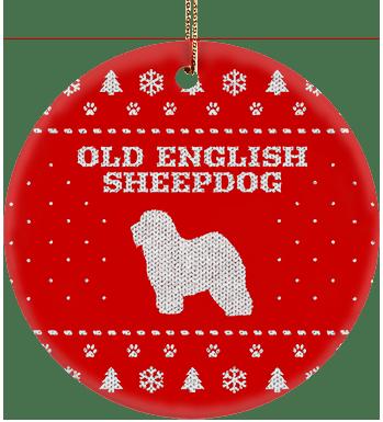 Old English Sheepdog Holiday Ceramic Circle Ornament