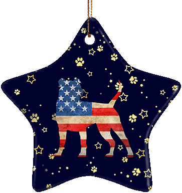 Pit Bull USA Ceramic Star Ornament