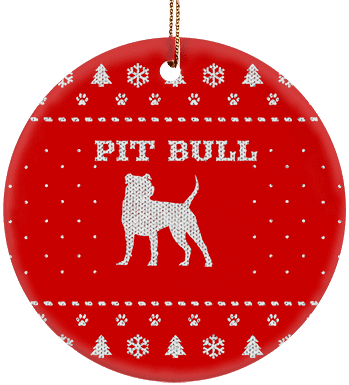 Pit Bull Holiday Ceramic Circle Ornament
