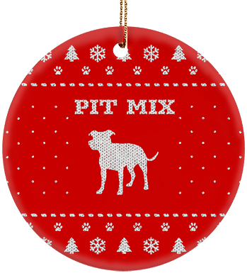 Pit Mix Holiday Ceramic Circle Ornament