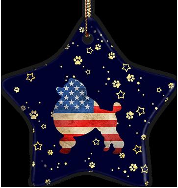 Poodle USA Ceramic Star Ornament