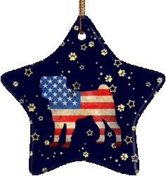 Pug USA Ceramic Star Ornament