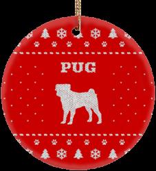 Pug Holiday Ceramic Circle Ornament