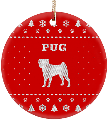 Pug Holiday Ceramic Circle Ornament