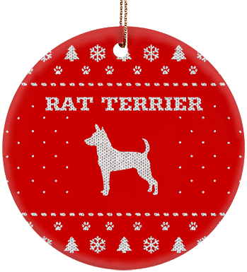 Rat Terrier Holiday Ceramic Circle Ornament