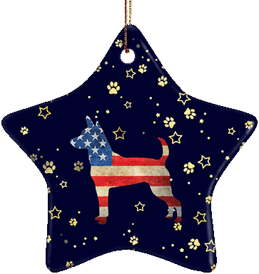 Rat Terrier USA Ceramic Star Ornament
