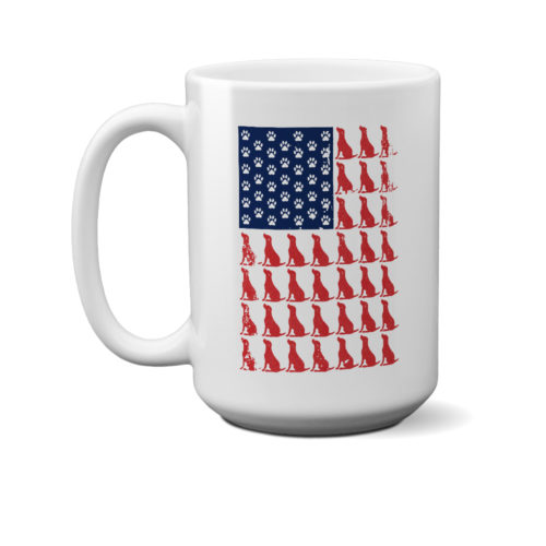 Red Dog Blue Paw Flag 15 oz. Mug