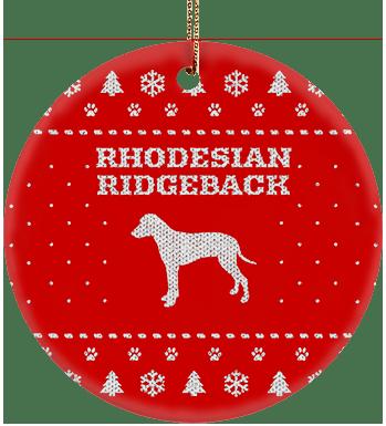 Rhodesian Ridgeback Holiday Ceramic Circle Ornament