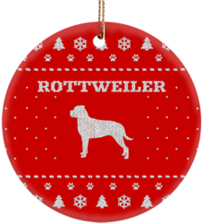 Rottweiler Holiday Ceramic Circle Ornament