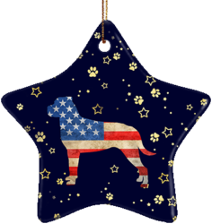 Rottweiler USA Ceramic Star Ornament