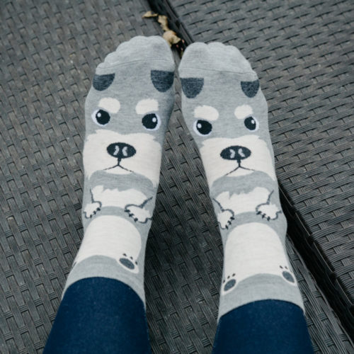 Grey Schnauzer Print Socks