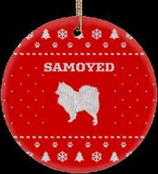 Samoyed Holiday Ceramic Circle Ornament