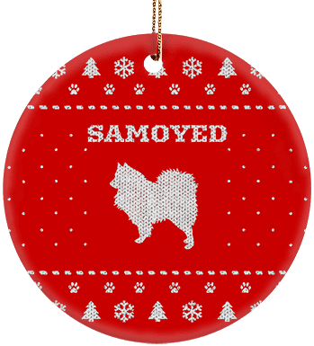 Samoyed Holiday Ceramic Circle Ornament