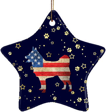 Schipperke USA Ceramic Star Ornament