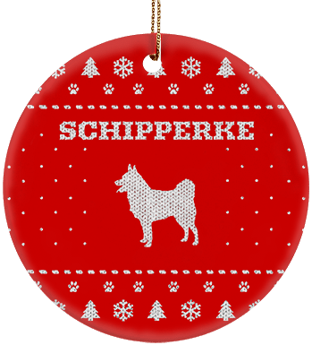 Schipperke Holiday Ceramic Circle Ornament