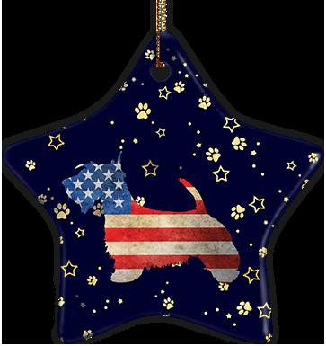 Scottish Terrier USA Ceramic Star Ornament