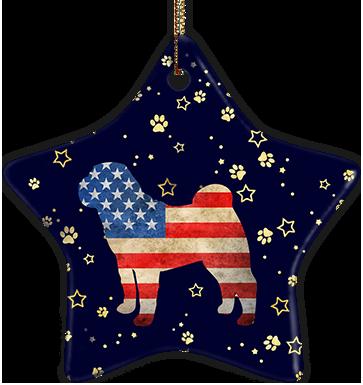 Shar-Pei USA Ceramic Star Ornament