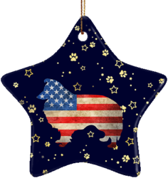 Sheltie USA Ceramic Star Ornament