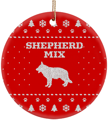 Shepherd Mix Holiday Ceramic Circle Ornament