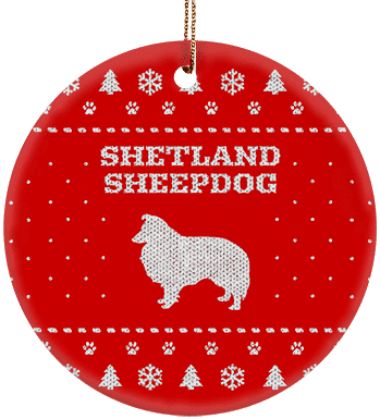 Shetland Sheepdog Holiday Ceramic Circle Ornament