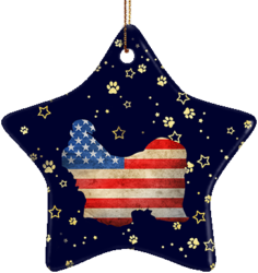 Shih Tzu USA Ceramic Star Ornament