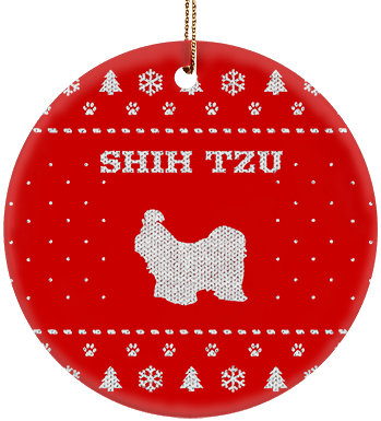 Shih Tzu Holiday Ceramic Circle Ornament