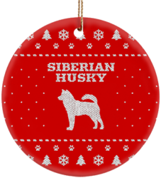 Siberian Husky Holiday Ceramic Circle Ornament