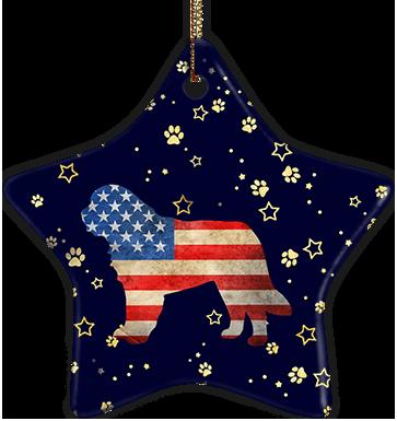 St. Bernard USA Ceramic Star Ornament