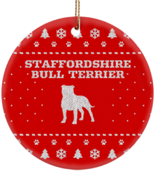 Staffordshire Bull Terrier Holiday Ceramic Circle Ornament